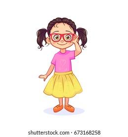Smart little girl in glasses is standing in full-length. Funny vector girl, isolated art on white background.