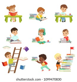 Smart little kids reading books set, cute preschool children learning and studying vector Illustrations isolated on a white background.