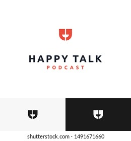 smart and logo that combine two apostrophe symbol with smile in negative space logo for happy talk logo