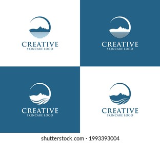 Smart Logo. You will feel a silhouette image of a woman's face shape horizontally, which is combined into the shape of a mountain and a beach. Logo for a skin care, skin product, makeup, beauty.