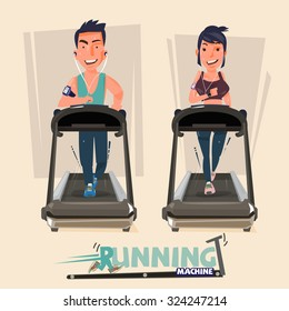 smart male and female doing exercises on treadmill. running machine - vector illustration