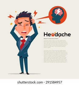 smart man get headache - healthcare and migraine concept - vector illustration