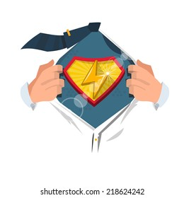 """smart man open shirt to show """" thunder icon """" in superhero style. power concept - vector illustration"""