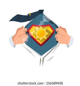 """smart man open shirt to show """"sun symbol"""" in hero style. power of sun concept - vector illustration"""
