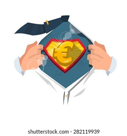 "smart man open shirt to show ""euro money symbol"" in hero style. moneyman concept - vector illustration"