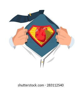 """smart man open shirt to show """"human heart"""" in comic style. strong. stop heart disease concept - vector illustration"""