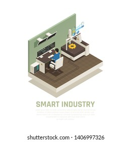 Smart manufacture concept with operation and technology symbols isometric vector illustration