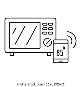Smart microwave icon. Outline illustration of smart microwave vector icon for web design isolated on white background