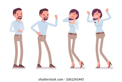 Smart middle aged man, young woman in buttoned up shirt, camel skinny chino trousers, negative emotions. Business stylish workwear trend, office city fashion. Vector flat style cartoon illustration