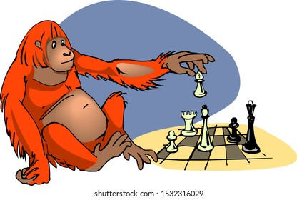 smart orangutan playing chess vector illustration in cartoon style isolated on white background concept of intelligence and evolution