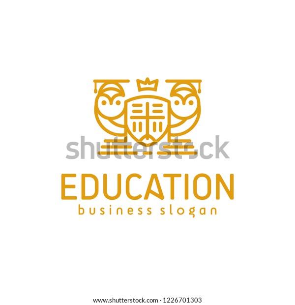 Smart Owl Education Academy School Logo Stock Vector