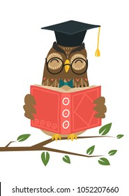 Smart owl reading book on tree branch on white background. Knowledge, education, studying, teaching concept vector illustration