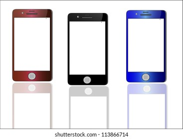 Smart  Phone 3  With Blank Screen Isolated