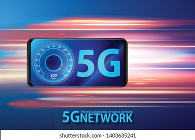 Smart phone and 5G symbol, 5G network wireless system concept.