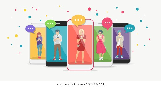 Smart phone addiction concept flat vector illustration of teenagers inside the mobile smartphones with chat speech bubbles texting, leaving comment and sharing memes. Young people addicted to internet
