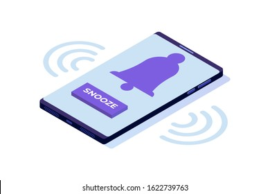 Smart phone alarm clock with snooze button. Isometric Vector illustration.