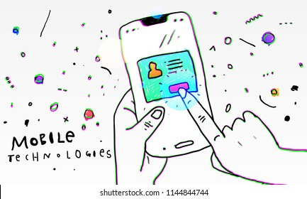 Smart phone application development concept. Social network design. Eps10 vector illustration