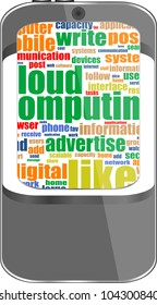 Smart phone with application icons and social media words