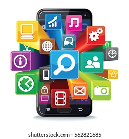 Smart Phone Apps Search Concept. Vector Illustration