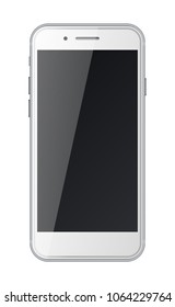 Smart phone with black screen isolated on white background. Vector illustration.