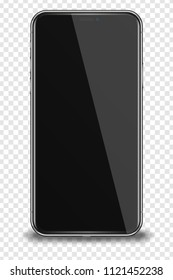 Smart phone with black screen isolated on transparent background. Vector illustration.