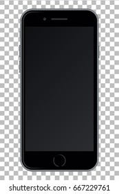 Smart phone with black screen isolated on transparent background. Vector illustration. EPS10.