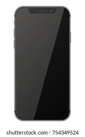 Smart phone with black screen isolated on white background. Vector illustration. EPS10