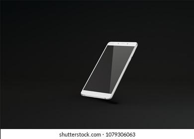 Smart phone with black screen on dark background. Vector illustration.