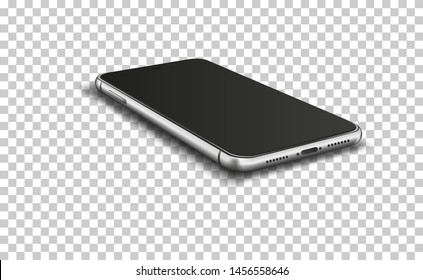 Smart phone with blank screen on transparent background. Vector illustration.