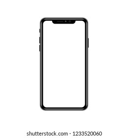 Smart phone with blank white screen. on white background. Realistic vector illustration.