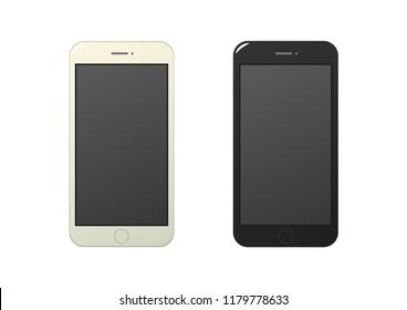 Smart phone cartoon mockup vector on white background isolated