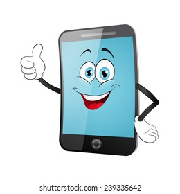 Smart phone cartoon on a white background