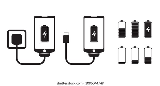 Smart phone charge with battery indicator level, vector icons