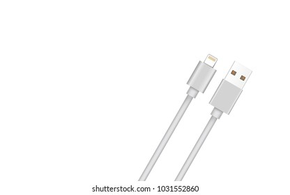 Smart Phone Charger Cable Mockup Isolate on white screen with copy Space for insert text.