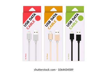 Smart Phone Charger Cable Product box Mockup Isolate on white screen with copy Space for insert text.