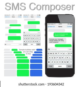 Smart Phone chatting sms template bubbles. Place your own text to the message clouds. Compose dialogues using samples bubbles! Eps 10 format.