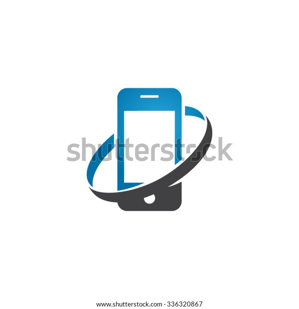 Smart Phone Circle Swoosh Icon Logo Stock Vector (Royalty