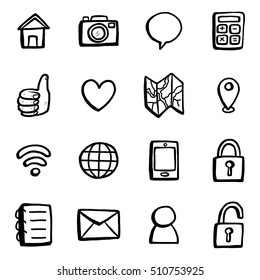 smart phone and computer  icons, black and white, objects or set/ cartoon vector and illustration, hand drawn style, isolated on white background.
