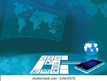 smart phone & control room abstract background big screen hi technology