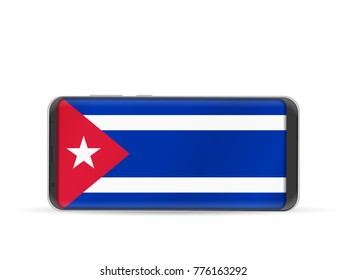 Smart phone Cuba flag on a white background.