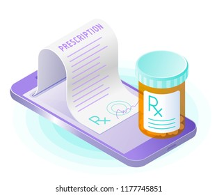 The smart phone, doctor online writes the medical prescription, pill bottle. Flat vector isometric illustration. The  online medicine, mobile healthcare, health concept.