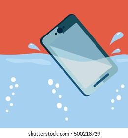 Smart phone drop into the water with splashes. waterproof system concept.
