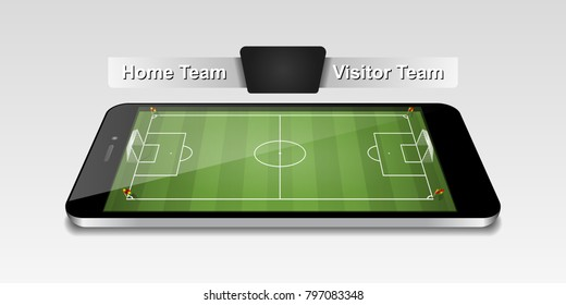 Smart phone with football field for watch online, bet online concept. Vector illustrations