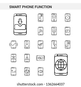 Smart phone functions hand drawn Icon set style, isolated on white background. - Vector