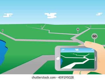 smart phone game application using location information, hand hold smart phone, vector illustration