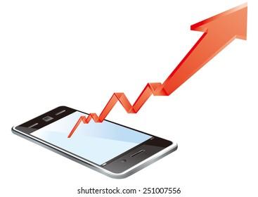 smart phone graph Vector