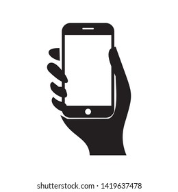 Smart phone in hand icon. Vector illustration