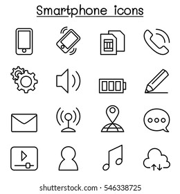 Smart phone icon set in thin line style