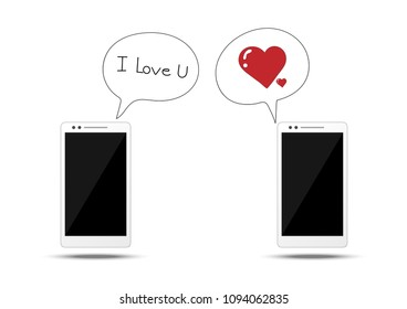 """smart phone icon with text box """"I love u"""",and heart icon ,chatting concept"""