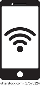 Smart phone icon with wifi symbol vector, Mobile device and wireless technology, Wifi network, internet zone icon set.